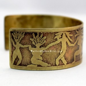 Dancing Women Etched Cuff - Available in Brass or Copper - Dancing Women Collection