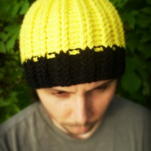 Unisex Two Tones Crochet Rib Hat Beanie yellow and black