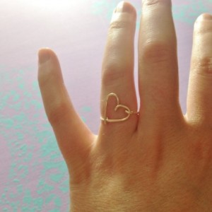 Gift- Heart Ring, Gold Heart Ring, Love Ring, Delicate Heart Ring, Wire Heart Ring, Open Heart Ring