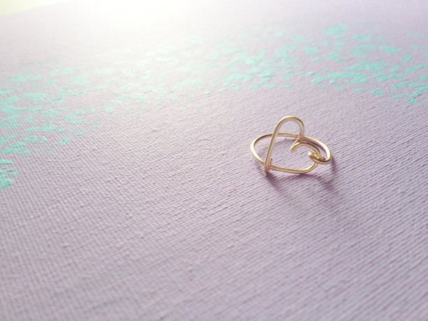 Gift Heart Ring Gold Heart Ring Love Ring Delicate Heart Ring