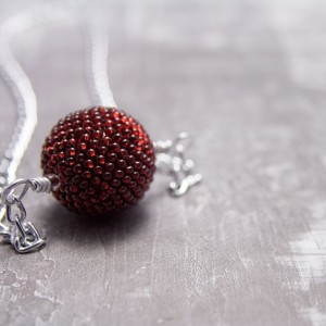 Beaded Bead Necklace // Red // Beadwork // Seed Bead Pendent