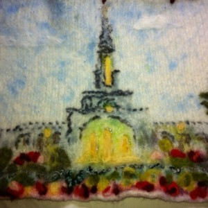 Wall hanging:  LDS Temple in Wool, knitted, fulled, dyed, needle-felted