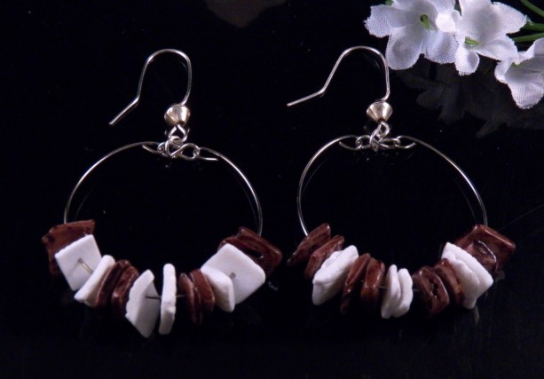 Brown White Heishi Shell Hoop Earrings Dangling Handmade Costume Jewelry Made in Montana Free Shipping to USA Gift Box