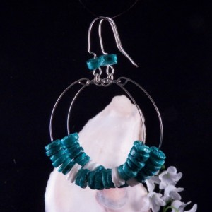 Blue Heishi Shell Hoop Earrings Dangling Handmade Costume Jewelry Made in Montana Free Shipping to USA Gift Box