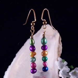Fresh Water Pearl Bead Earrings Dangling Handmade Costume Jewelry Made in Montana Free Shipping to USA Gift Box