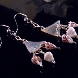 Mother of Pearl Shell Earrings Dangling Handmade Costume Jewelry Made in Montana Free Shipping to USA Gift Box
