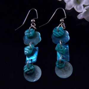 Blue Mother of Pearl Heishi Shell Earrings Dangling Handmade Costume Jewelry Made in Montana Free Shipping to USA Gift Box