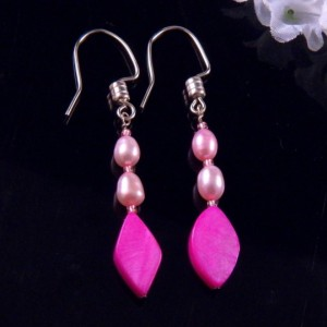 Pink Mother of Pearl Shell Earrings Glass Beads Dangling Handmade Costume Jewelry Made in Montana Free Shipping to USA Gift Box