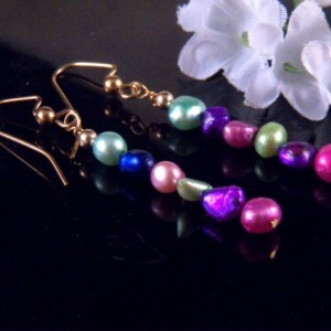 Fresh Water Pearl Earrings Dangling Handmade Costume Jewelry Made in Montana Free Shipping to USA Gift Box
