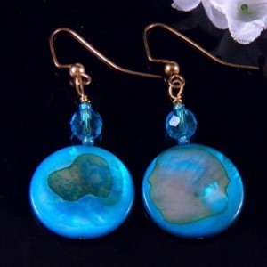 Blue Mother of Pearl Shell Earrings Glass Beads  Dangling Handmade Costume Jewelry Made in Montana Free Shipping to USA Gift Box