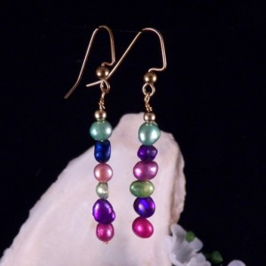 Fresh Water Pearl Earrings Dangling Handmade Costume Jewelry Made in Montana Free Shipping to USA Gift Box