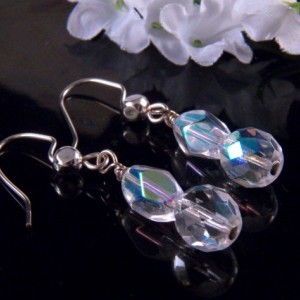 Crystal Bead Earrings Dangling Handmade Costume Jewelry Made in Montana Free Shipping to USA Gift Box