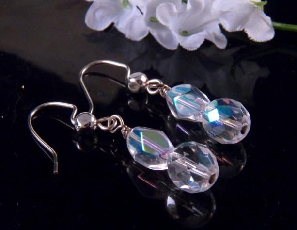 Crystal Bead Earrings Dangling Handmade Costume Jewelry Made in Montana Free Shipping to USA Gift Box