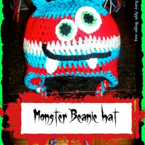 monster beanie,monster hat,monster crochet hat, kids hat ,red hat  ,blue hat , accessories, winter ,18 inch diameter,handmade