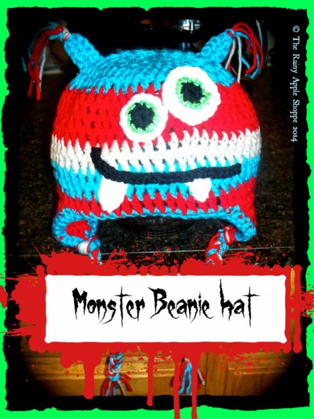 monster beanie,monster hat,monster crochet hat, kids hat ,red hat  ,blue hat , accessories, winter ,18 inch diameter,handmade