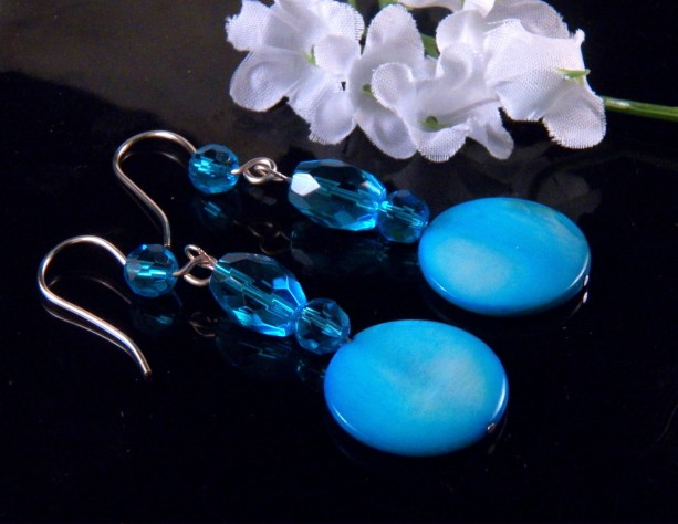 Blue Mother of Pearl Shell Glass Bead Earrings Dangling Handmade Costume Jewelry Made in Montana Free Shipping to USA Gift Box