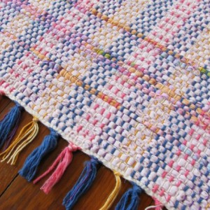 Rug for Nursery - Pale pink, lime, blue, purple, lilac, yellow / Eco-Friendly upcycled fabric / MirandasLoom