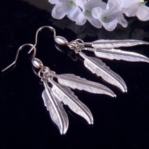 Silver Leaf Charms Earrings Dangling Handmade Costume Jewelry Made in Montana Free Shipping to USA Gift Box