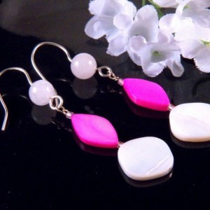 Pink White Mother of Pearl Shell Glass Beads Earrings Dangling Handmade Costume Jewelry Made in Montana Free Shipping to USA Gift Box