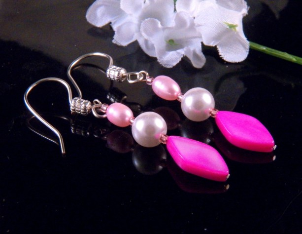 Pink Mother of Pearl Shell Glass Bead Earrings  Dangling Handmade Costume Jewelry Made in Montana Free Shipping to USA Gift Box