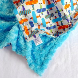 Baby Blanket, Minky Baby Blanket, Ready Set Go Airplanes Organic Cotton Baby Blanket with Blue Minky For Your Baby