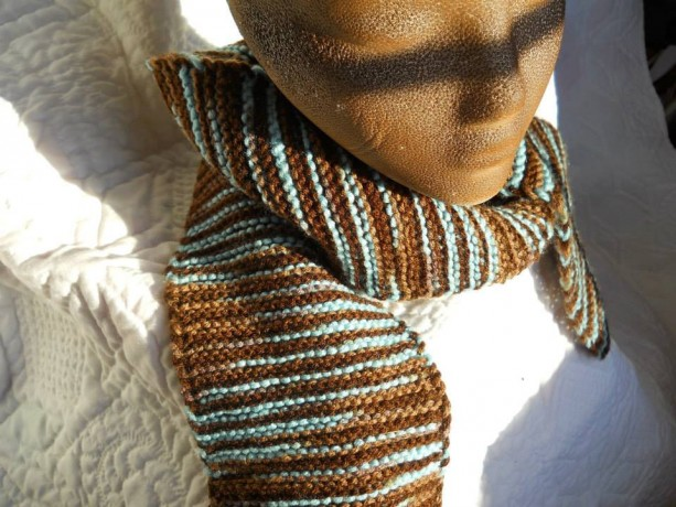 Brown and Blue Knit Scarf - Warm Winter Scarf - Perfect for Winter - Makes a Great Present