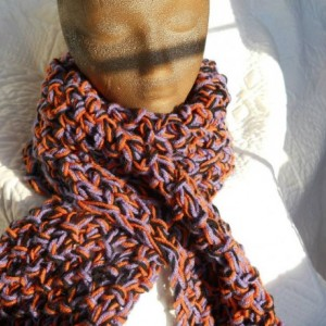 Hand Knit Orange Purple Black Halloween Scarf