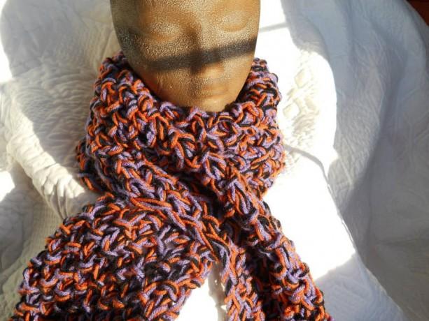 Hand Knit Orange Purple Black Halloween Scarf
