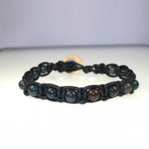 Leather Macrame Bracelet with African Bloodstone Beads