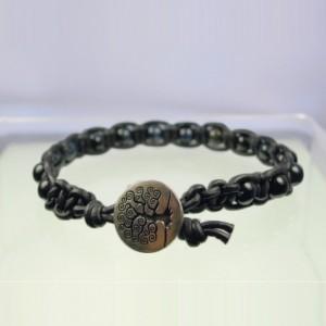 Leather Macrame Bracelet with Blue Tiger Eye Beads
