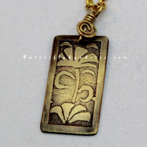 Abstract Floral Pendant - Etched Yellow Brass Floral Choker