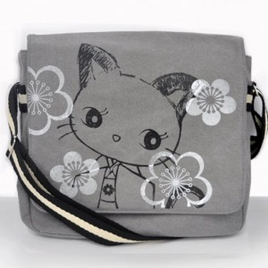 Kimono Kitty Canvas Vintage messenger bag