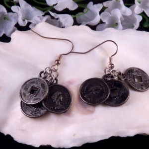 Faux Coins Earrings Dangling Handmade Costume Jewelry Made in Montana Free Shipping to USA Gift Box