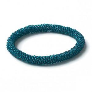 Teal Blue Woven Beaded Rope Bracelet