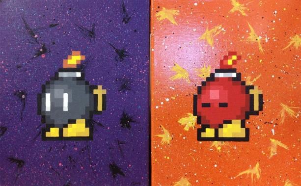 Nintendo Bob-ombs on Canvas