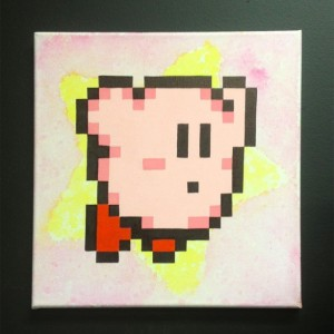 8bit Kirby on Canvas