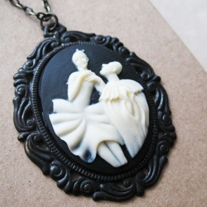 Vintage Victorian Inspired Black and White  Ballerina Necklace.