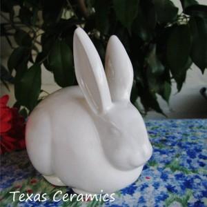 Soft White Ceramic Bunny Rabbit Cotton Ball Holder Bath Vanity Decor