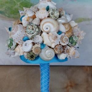 New Ocean Blue and Green  Seashell Bouquet / Beach Bouquet, Beach Wedding, Destination Wedding, Cruise Wedding, By the Sea Wedding Bouquet