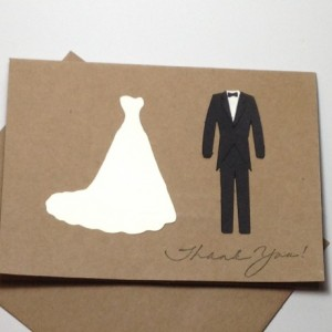 Bride and Groom Thank you Note Card Set, Handmade Wedding Gown and Tuxedo Thank You Note Cards, Wedding Thank You Cards
