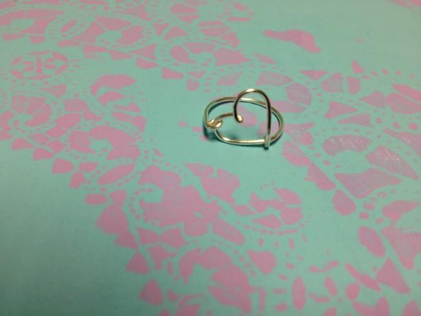 Heart Ring, Silver Heart Ring, Love Ring, Delicate Heart Ring, Open Heart Ring, Wire Heart Ring
