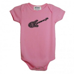 Pink guitar baby onesie Cotton American Apparel one-piece bodysuit