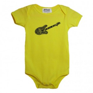Yellow guitar baby onesie Cotton American Apparel one-piece bodysuit