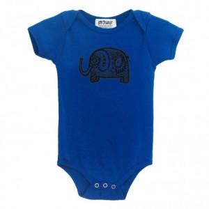Organic elephant baby onesie Turquoise color Cotton American Apparel one-piece bodysuit