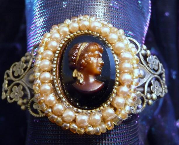 Vintage Beaded Cameo Bracelet