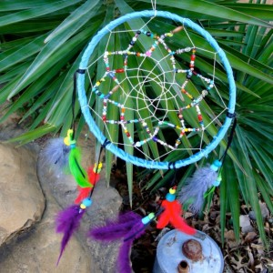 Beaded Dream Catcher,  Large 9 inch, Bright Feathered, Multicolored, Home Decor Inside or Outside, Southwestern
