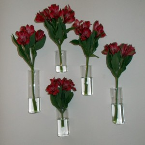 Set of Five Assorted Sizes Hand Blown Glass Wall Vases, Just Add Your Flowers and They're Ready to Hang