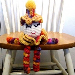 Crochet Spiral Doll - Colorful Clown - Clown Doll - spiralling arms and legs - purple, orange, yellow, red