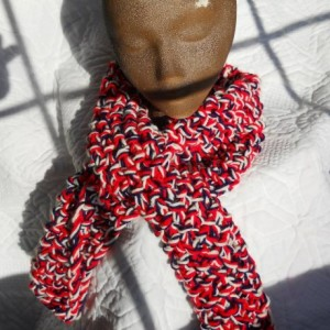 Red White and Blue Scarf -Three Strands of Yarn - Very warm - Makes a Great Gift