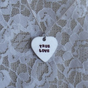 Be Mine Candy Heart Necklace - Valentine's Day, Conversation Heart, hand stamped, handstamped